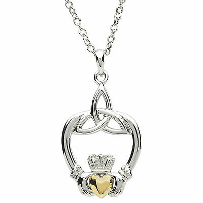 "Platinum Plated Claddagh Pendant 18k Gold Plated Heart 1 1/4"" x 5/8"", 18"" Chain"