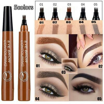 New 5 Colors Eye Brow Contouring Liquid Tattoo Pen 4Head Sketch Dye Tint Pencil!
