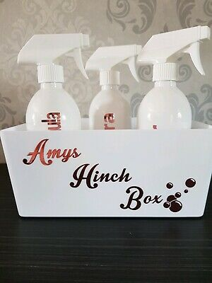 Personalised cleaning caddy. Personal spray bottles. Hinch. Any name