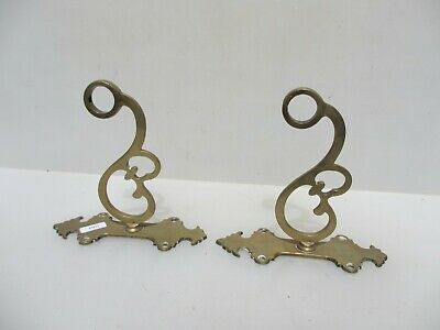 Victorian Brass Hand Rail Brackets Guard Antique Towel Old Railing Curtain Pole