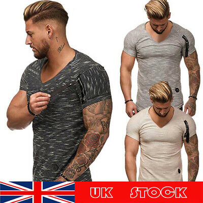 Man's Short Sleeve T Shirts Slim Fit Muscle Shirt Tops Casual V-Neck Shirts UK