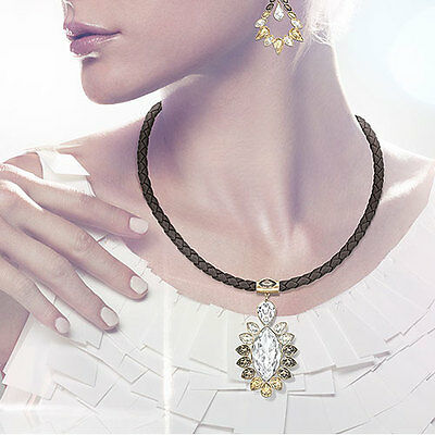 BRAND NEW Swarovski Alabaster Pendant Gold-Plated Leather Cord  NEW IN BOX