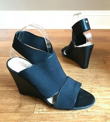 077742d6e3 Vince Camuto Womens Black Leather Ankle Strap Wedge Sandals Heels Sz 9 Xylia