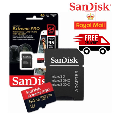 64 GB San Disk Extreme PRO - High Speed Micro SD SDXC Memory Card With Adapter✅