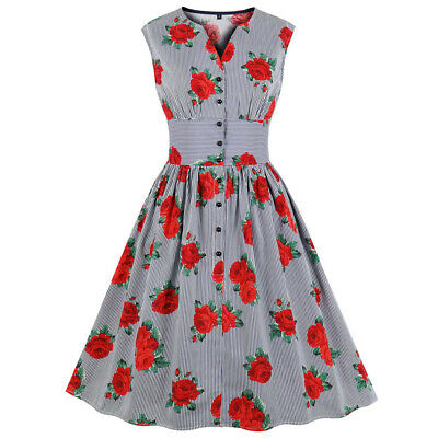 Women Pin Up Floral 50s Flared Button Fly Swing Skater Party Evening Retro Dress
