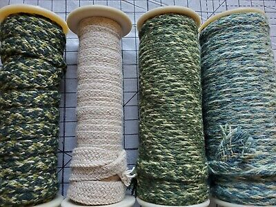 Rug Braiding 100% wool Spool lot 4 hooking braid supply crafting  greens 200+yds