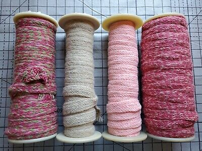 Rug Braiding 100% wool Spool lot 4 hooking braid supply crafting  reds 200+ydsu