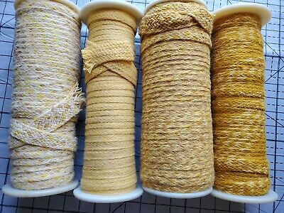 Rug Braiding 100% wool Spool lot 4 hooking braid supply yellows 175+ yards