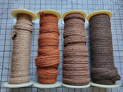 Rug Braiding 100% wool Spool lot 4 hooking braid supply browns 160+yards