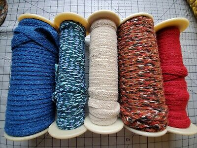 Rug Braiding 100% wool Spool lot 5 hooking braid purple blue beige 200+ yards