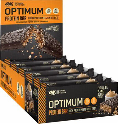 Optimum Nutrition Protein Bar 10 x 62g Whey Isolate & Low Sugar - Peanut Butter
