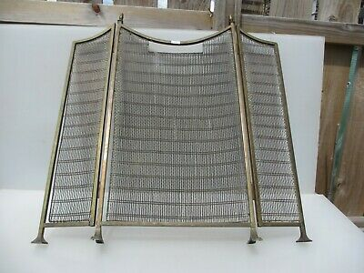 Vintage Brass Fire Screen Mesh Old Guard Fireplace Victorian Acorn Antique