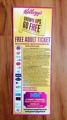Grown Ups Go Free 2 For 1 Coupon Alton Towers/Thorpe Park From Kellogs
