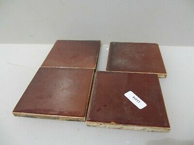 "Vintage Ceramic Tiles x4 Architectural Antique Tile Brown Old 3""W"