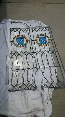 Vintage pair of Leaded & Stained Glass Panels, for Repair