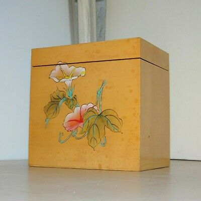 """6"""" Small Vintage Wood Chinese Oriental Storage Box Trinket Collectable Wooden 2C"""