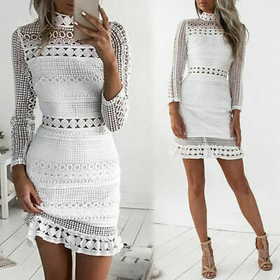 Women Lace Hollow Bodycon Dress Summer Style Dresses Long Sleeve Casual Vesti
