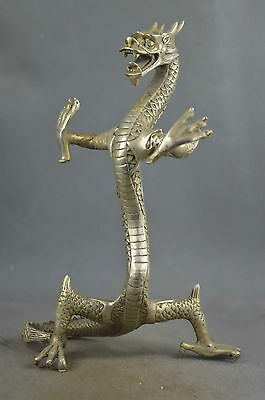 "8.5""Collectible Handwork Tibet silver Carve Might Dragon Exorcism Statue"