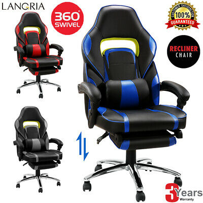 Gaming Racing Executive Recliner Office Chair Swivel Footstool Sport Leather