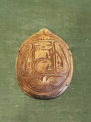 Antique Egyptian Carved Stone Scarab with Symbols / Hieroglyphics