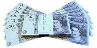 20 Pounds GBP Notes Realistic Prop Money Look Like Real Fake Pounds GB 100PCS