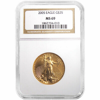 2005 $25 American Gold Eagle 1/2 oz. NGC MS69 Brown Label