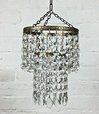 Small Vintage 50s Brass/Crystal Glass Drop 2 Tier Chandelier Ceiling Lamp Light