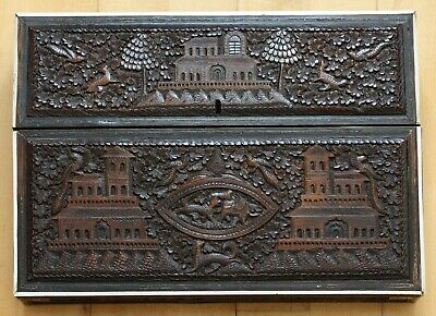 Antique Anglo-Indian carved sandalwood writing slope / lap desk - superb example