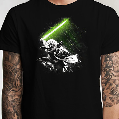 Star Wars Yoda Jedi Master Lightsaber T Shirt (S-XL) Luke Vader Skywalker