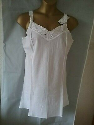 New Womens White Cotton Blend Full Under Slip Petticoat Vintage Lingerie