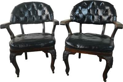 19821 Pair of Mahogany Carved Arm Chairs with Leather