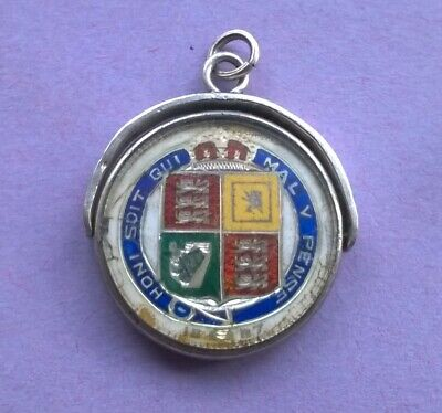 Enamelled Victoria 1887 Shilling Coin In Silver & Glass Fob Spinner Mount