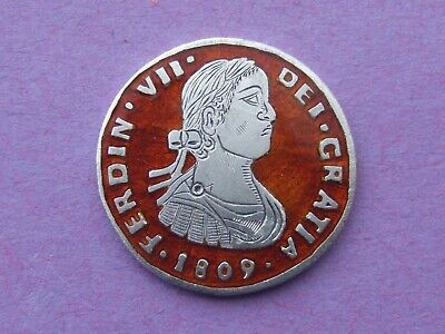 Enamelled Coin - Spain / Mexico Silver 1 Real 1809