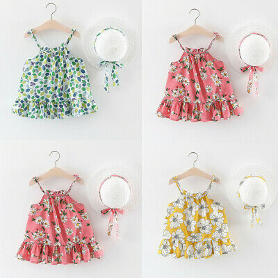 Toddler Baby Girl Floral Casual Summer Princess Dress Sundress+Hat Outfits Set U