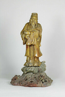 Antique Chinese 18th 19th Century Carved Soapstone Immortal Figure on Wave LARGE
