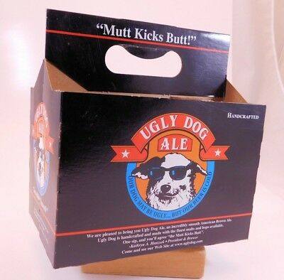UGLY DOG ALE Original 6 Pack BEER Carrier Carton Brewery Closed 1999 Handcrafted