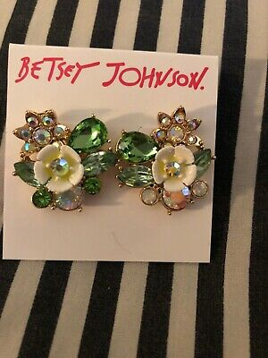 73dc51834 Betsey Johnson Flower In Bloom Stud Earrings Multi Colored Pave Crystals NWT