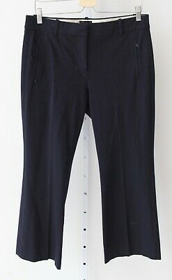 J.CREW Womens Teddie Pants Crop Flare Ankle Flat Front Zipper Pocket Navy Blue 8