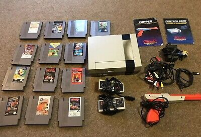Nintendo Entertainment System NES (Unboxed) + 2x Controllers, Zapper, & 13 Games