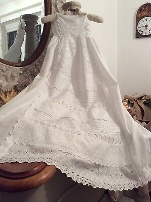 Antique French Cotton Christening Gown~Exquisite Broderie Anglaise Lace ~PERFECT
