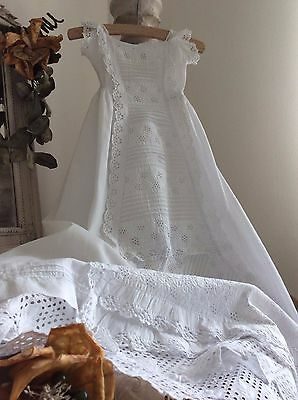 Exquisite Antique French Baby Christening Gown~Cotton /Stunning Broderie Anglais