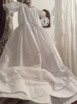 Exquisite Vintage French Baby Christening Gown~Cotton/Fine Open Broderie Anglais