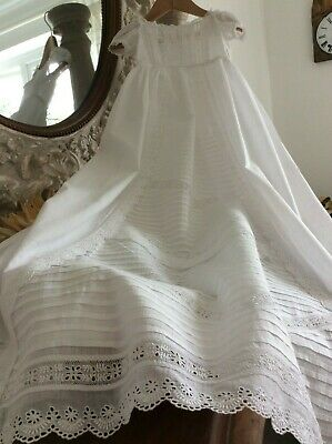 Antique French Christening Gown~Lawn Cotton~Broderie Anglais~Dainty Lace~Perfect