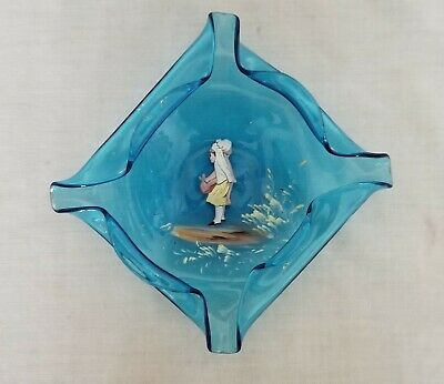 "Antique Hand Blown Blue Enameled Mary Gregory -ish Art Glass Bowl Dish 5.5"" X 6"""