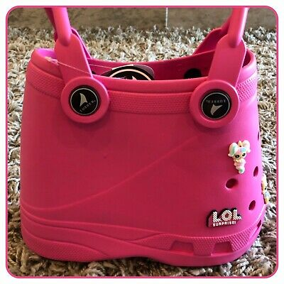 Small Pink Blue Green Purple Croc Shaped Lubber Beach Tote Bag + LOL Doll Charms