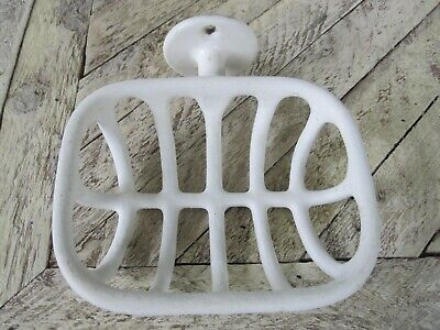 "Antique ""Rib Cage"" White Porcelain Over Metal Wall Mount Soap Dish"
