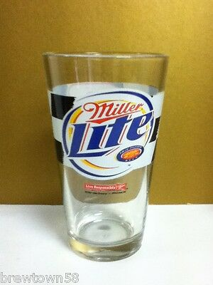 Miller beer glass Lite pint Rusty Wallace 2 Nascar racing bar glasses 1 race JW7