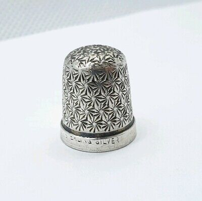Antique or Old Vintage Sterling Silver Sewing Thimble Star Pattern Engraved