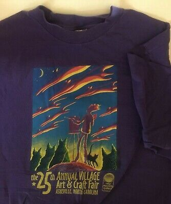 604e62dc VTG USA Made 90s Asheville NC T-Shirt LARGE XL Purple Arts Crafts Cat Birds