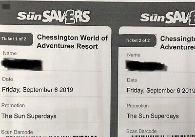 2x Tickets to Chessington World Of Adventures Resort , Friday 6th September 2019